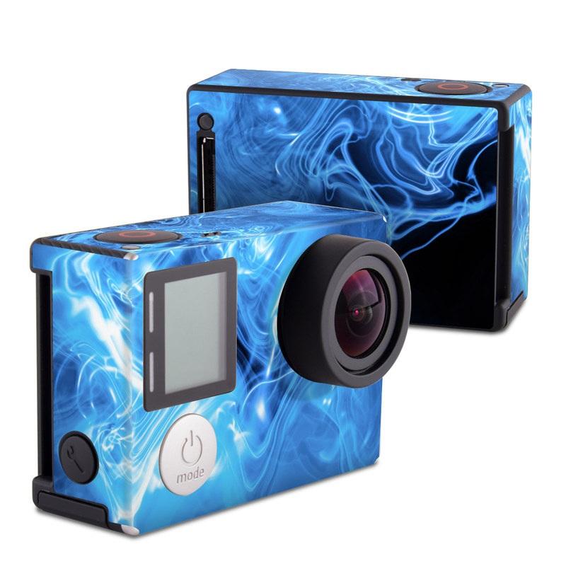 GoPro Hero4 Black Edition Skin design of Blue, Water, Electric blue, Organism, Pattern, Smoke, Liquid, Art with blue, black, purple colors
