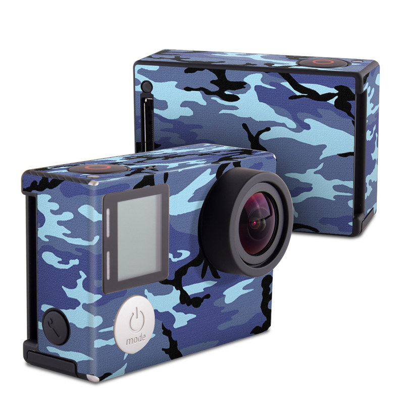 GoPro Hero4 Black Edition Skin design of Military camouflage, Pattern, Blue, Aqua, Teal, Design, Camouflage, Textile, Uniform with blue, black, gray, purple colors