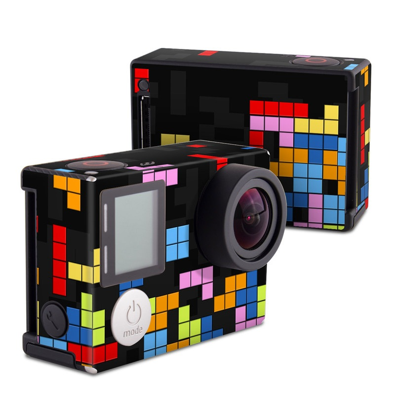 GoPro Hero4 Black Edition Skin design of Pattern, Symmetry, Font, Design, Graphic design, Line, Colorfulness, Magenta, Square, Graphics with black, green, blue, orange, red colors