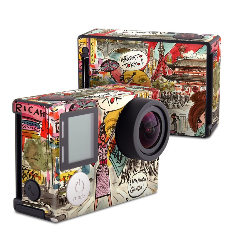 GoPro Hero4 Black Edition Skin design of Cartoon, Art, Illustration, Graphic design, Collage, Fiction, Fictional character, Comics, Visual arts, Photomontage with gray, black, red, green, pink, yellow colors