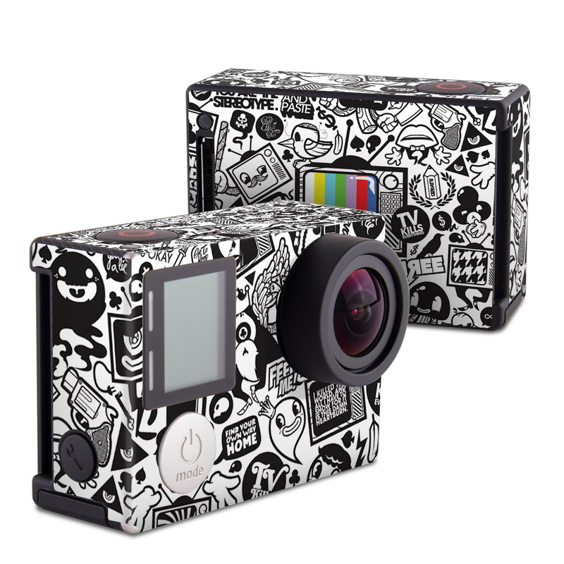 GoPro Hero4 Black Edition Skin design of Pattern, Drawing, Doodle, Design, Visual arts, Font, Black-and-white, Monochrome, Illustration, Art with gray, black, white colors