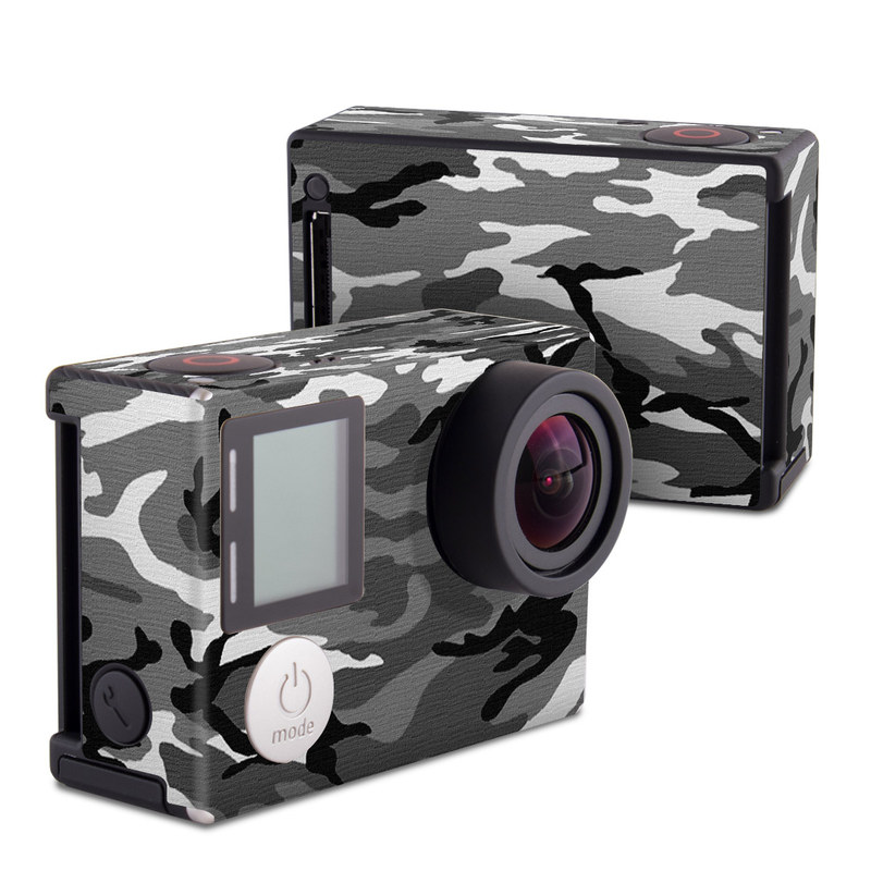GoPro Hero4 Black Edition Skin design of Military camouflage, Pattern, Clothing, Camouflage, Uniform, Design, Textile with black, gray colors