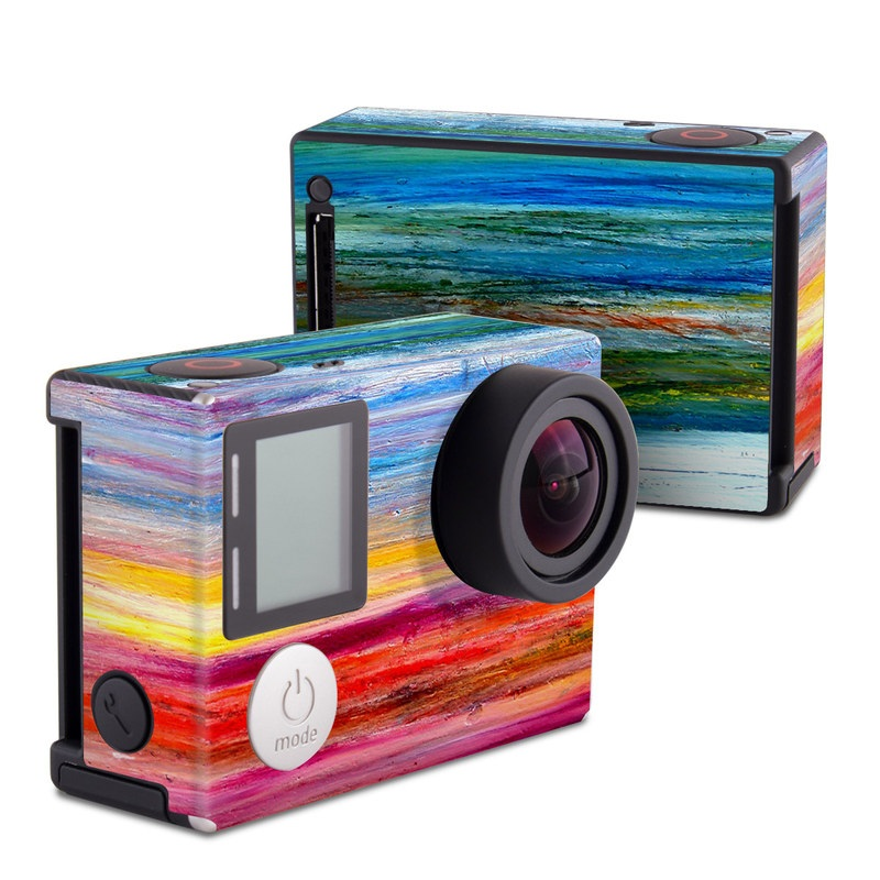 GoPro Hero4 Black Edition Skin design of Sky, Painting, Acrylic paint, Modern art, Watercolor paint, Art, Horizon, Paint, Visual arts, Wave with gray, blue, red, black, pink colors
