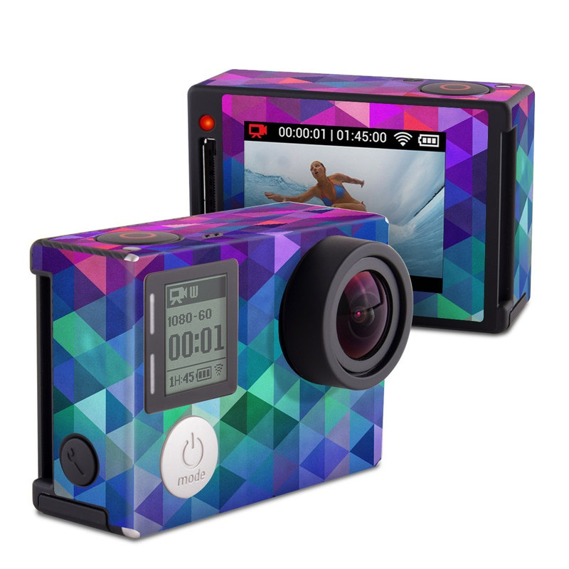 GoPro Hero4 Silver Edition Skin design of Purple, Violet, Pattern, Blue, Magenta, Triangle, Line, Design, Graphic design, Symmetry with blue, purple, green, red, pink colors