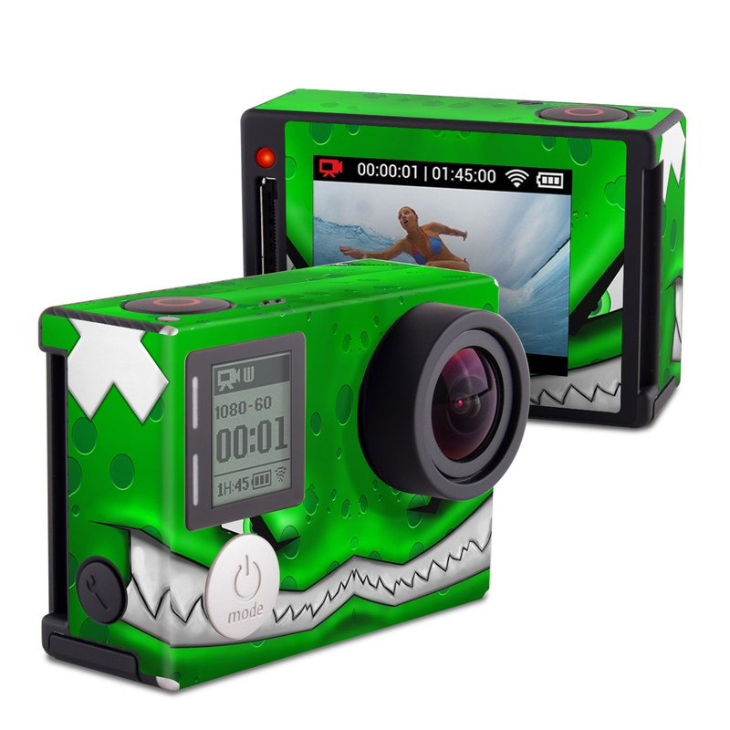 GoPro Hero4 Silver Edition Skin design of Green, Font, Animation, Logo, Graphics, Games with green, white colors