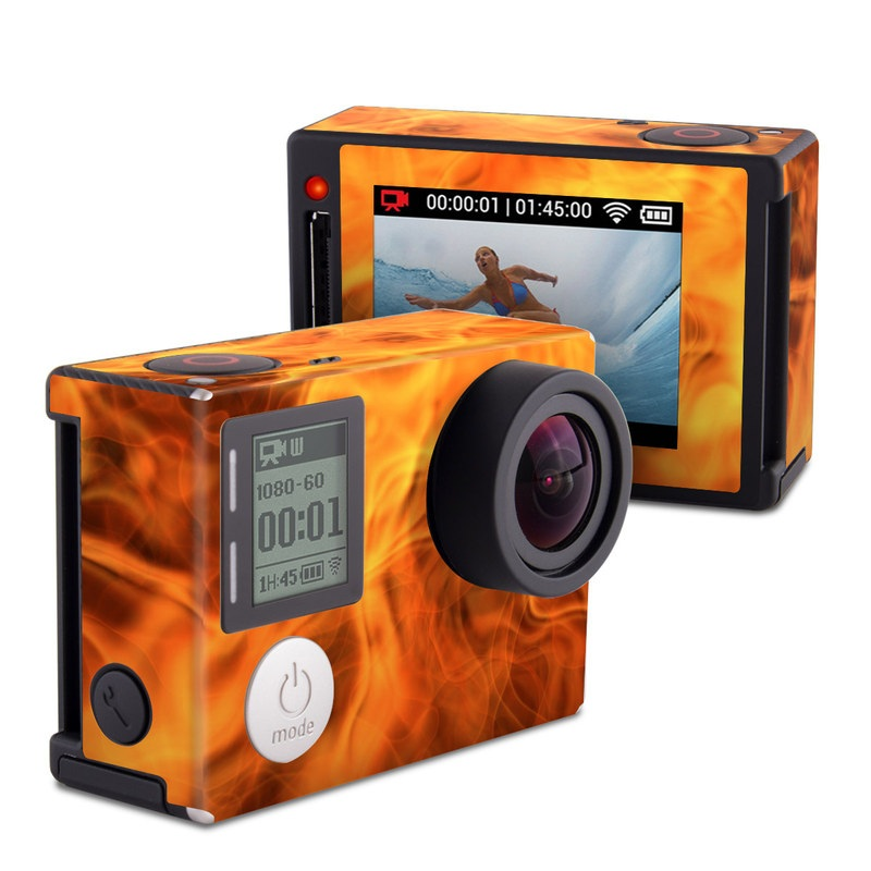 GoPro Hero4 Silver Edition Skin design of Flame, Fire, Heat, Orange with red, orange, black colors