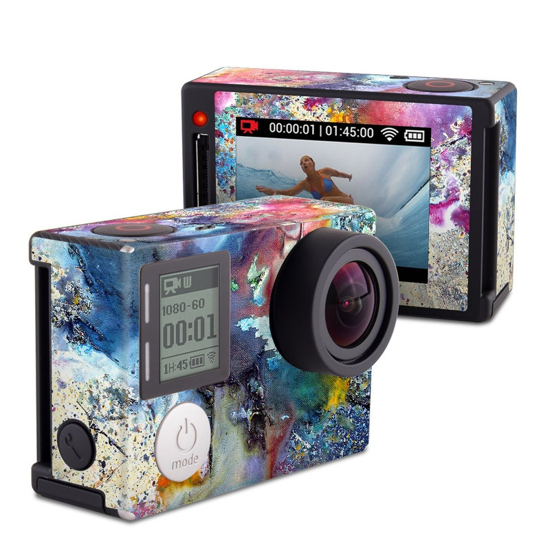 GoPro Hero4 Silver Edition Skin design of Watercolor paint, Painting, Acrylic paint, Art, Modern art, Paint, Visual arts, Space, Colorfulness, Illustration with gray, black, blue, red, pink colors