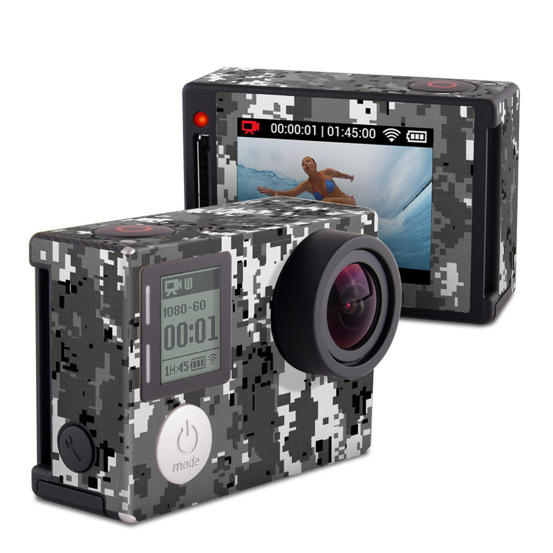 GoPro Hero4 Silver Edition Skin design of Military camouflage, Pattern, Camouflage, Design, Uniform, Metal, Black-and-white with black, gray colors