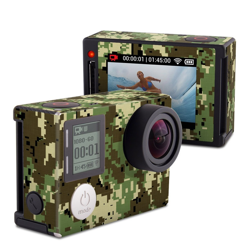 GoPro Hero4 Silver Edition Skin design of Military camouflage, Pattern, Camouflage, Green, Uniform, Clothing, Design, Military uniform with black, gray, green colors