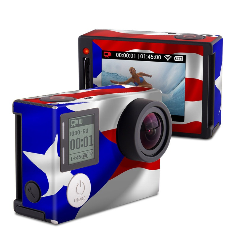 GoPro Hero4 Silver Edition Skin design of Flag, Flag of the united states, Flag Day (USA), Veterans day, Independence day with red, blue, white colors