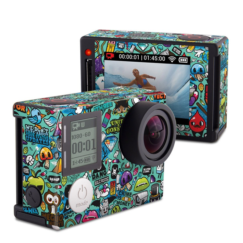GoPro Hero4 Silver Edition Skin design of Cartoon, Art, Pattern, Design, Illustration, Visual arts, Doodle, Psychedelic art with black, blue, gray, red, green colors