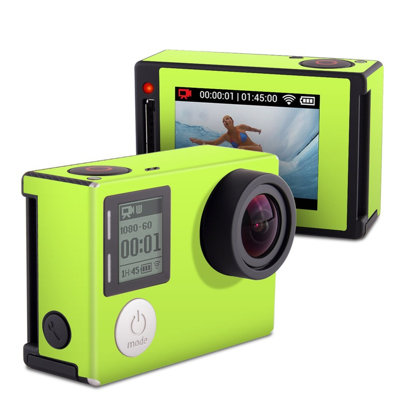 GoPro Hero4 Silver Edition Skin design of Green, Yellow, Text, Leaf, Font, Grass with green colors