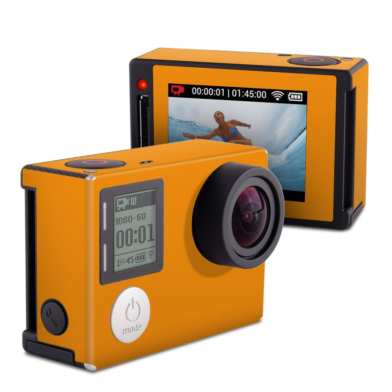 GoPro Hero4 Silver Edition Skin design of Orange, Yellow, Brown, Text, Amber, Font, Peach with orange colors