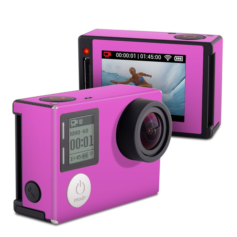 GoPro Hero4 Silver Edition Skin design of Violet, Pink, Purple, Red, Lilac, Magenta, Blue, Lavender, Text, Sky with pink colors