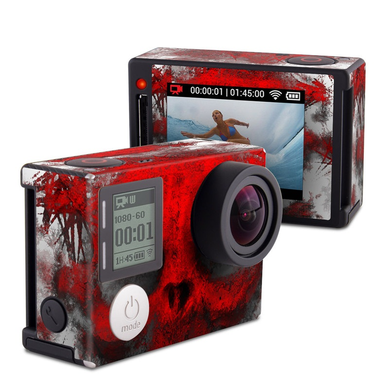 GoPro Hero4 Silver Edition Skin design of Red, Graphic design, Skull, Illustration, Bone, Graphics, Art, Fictional character with red, gray, black, white colors