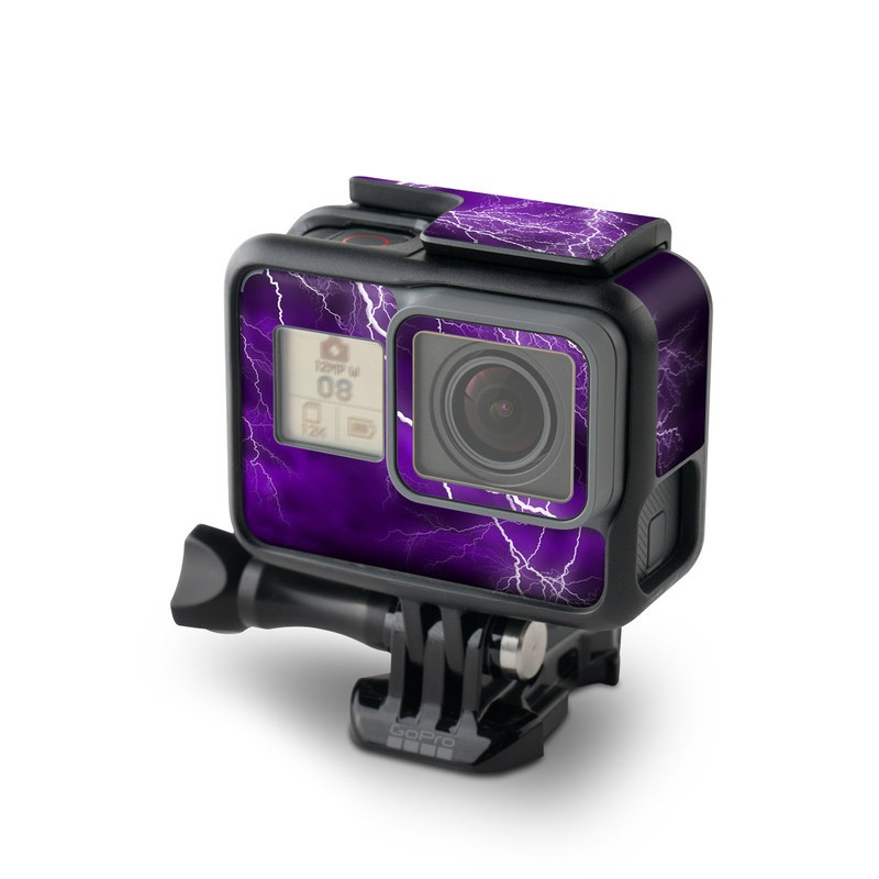 GoPro Hero5 Black Skin design of Thunder, Lightning, Thunderstorm, Sky, Nature, Purple, Violet, Atmosphere, Storm, Electric blue with purple, black, white colors