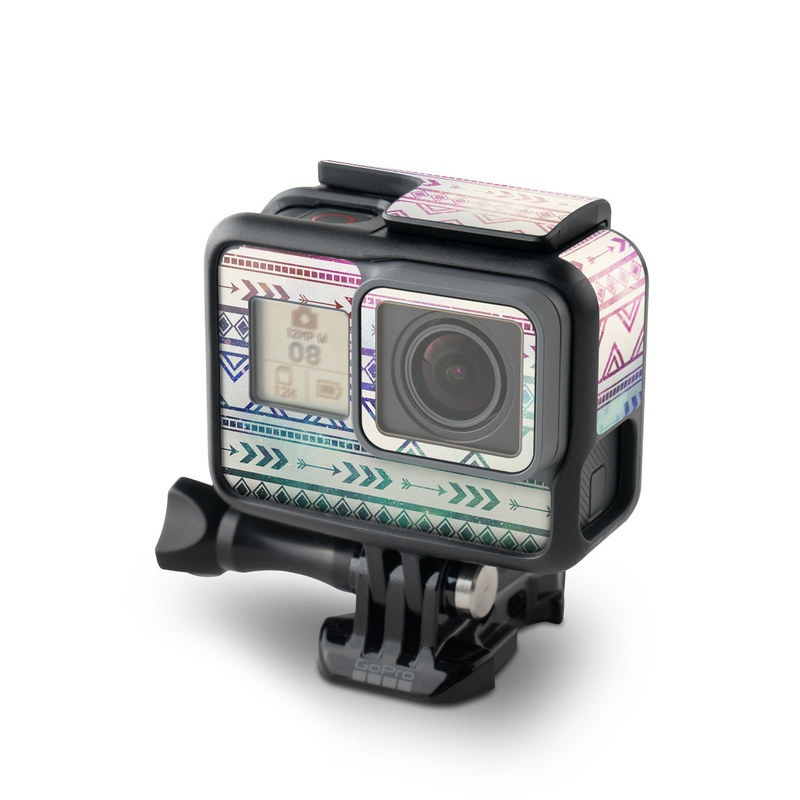 GoPro Hero5 Black Skin design of Pattern, Line, Teal, Design, Textile with gray, pink, yellow, blue, black, purple colors