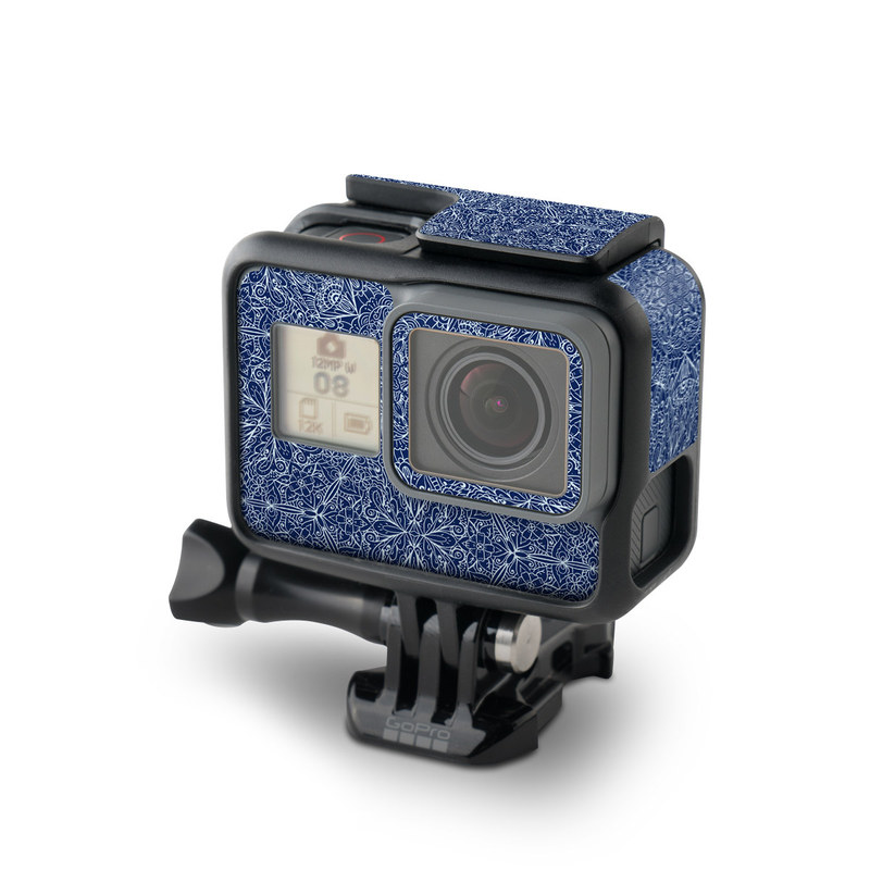 GoPro Hero5 Black Skin design of Blue, Pattern, Azure, Cobalt blue, Design, Textile, Electric blue, Wallpaper, Symmetry with blue, white colors