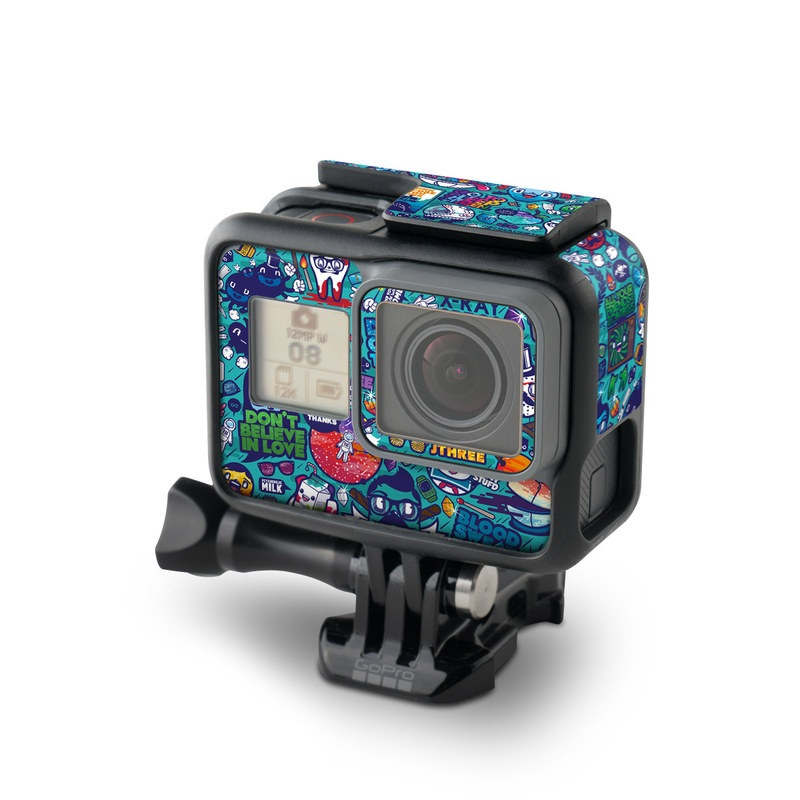 GoPro Hero5 Black Skin design of Art, Visual arts, Illustration, Graphic design, Psychedelic art with blue, black, gray, red, green colors