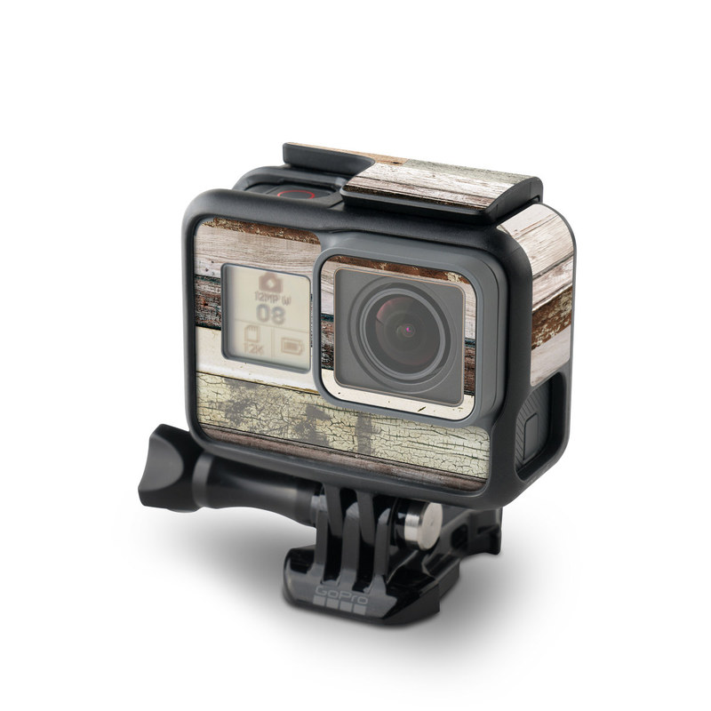 GoPro Hero5 Black Skin design of Wood, Wall, Plank, Line, Lumber, Wood stain, Beige, Parallel, Hardwood, Pattern with brown, white, gray, yellow colors
