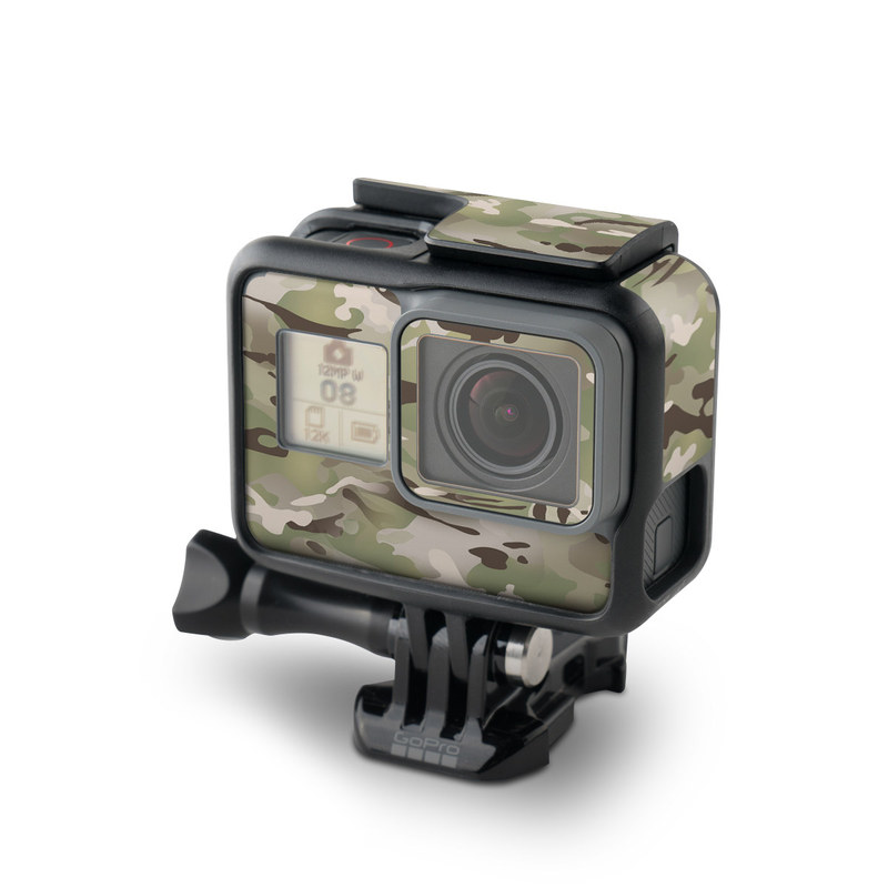 GoPro Hero5 Black Skin design of Military camouflage, Camouflage, Pattern, Clothing, Uniform, Design, Military uniform, Bed sheet with gray, green, black, red colors