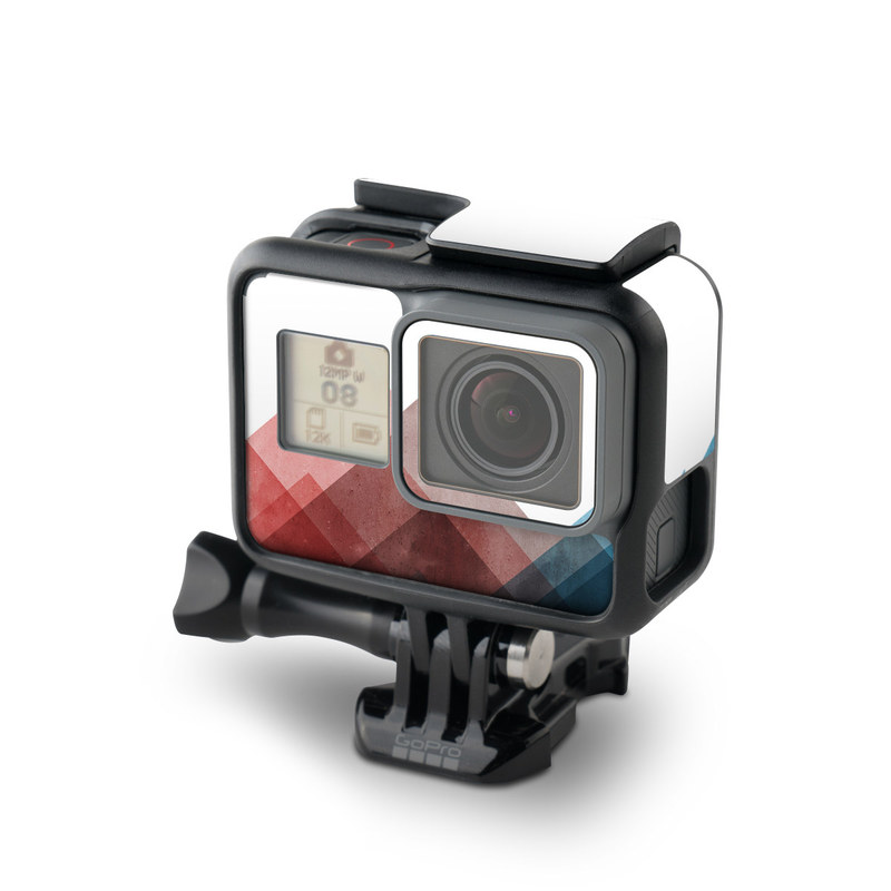 GoPro Hero5 Black Skin design of Blue, Red, Sky, Pink, Line, Architecture, Font, Graphic design, Colorfulness, Illustration with red, pink, blue colors