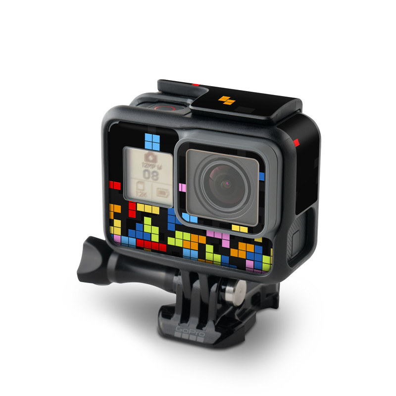GoPro Hero5 Black Skin design of Pattern, Symmetry, Font, Design, Graphic design, Line, Colorfulness, Magenta, Square, Graphics with black, green, blue, orange, red colors