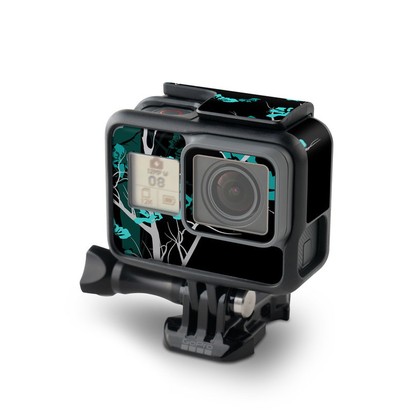 GoPro Hero5 Black Skin design of Branch, Black, Blue, Green, Turquoise, Teal, Tree, Plant, Graphic design, Twig with black, blue, gray colors