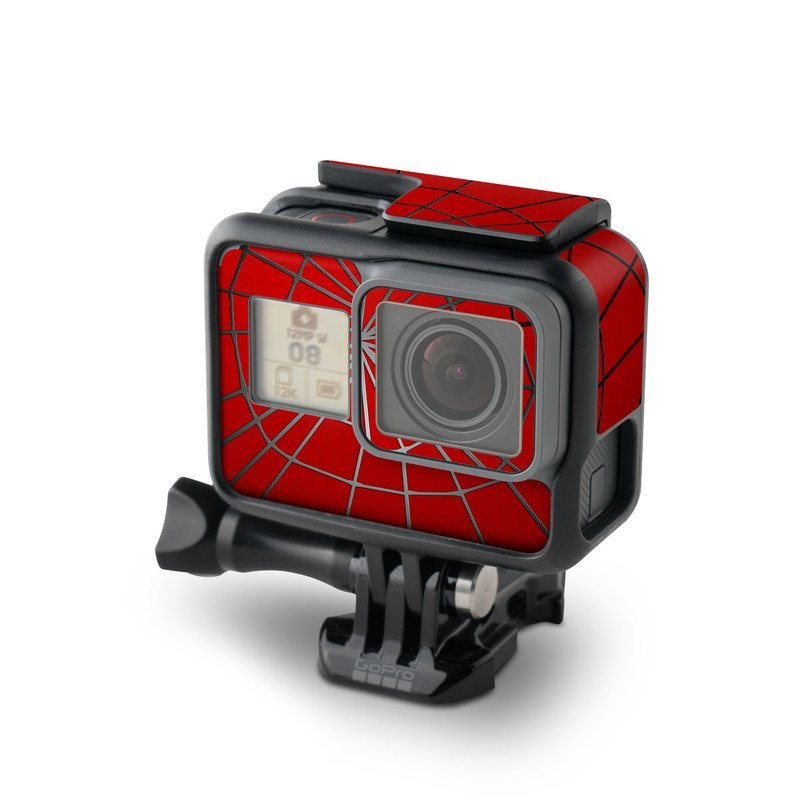GoPro Hero5 Black Skin design of Red, Symmetry, Circle, Pattern, Line with red, black, gray colors