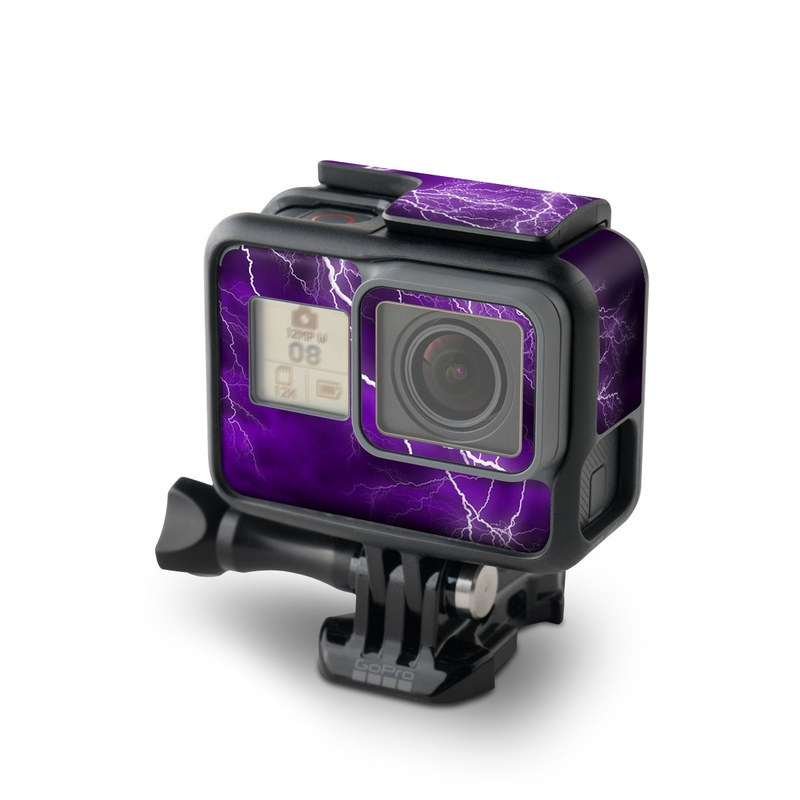 GoPro Hero6 Black Skin design of Thunder, Lightning, Thunderstorm, Sky, Nature, Purple, Violet, Atmosphere, Storm, Electric blue with purple, black, white colors