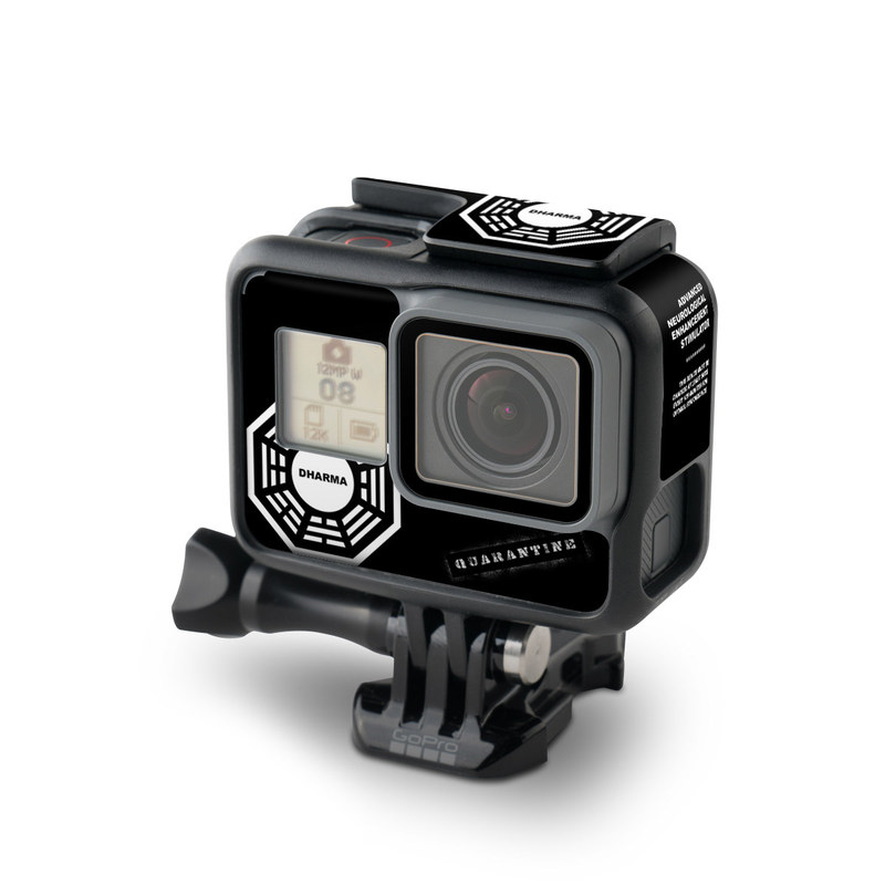 GoPro Hero6 Black Skin design of White, Black, Logo, Symmetry, Emblem, Font, Pattern, Graphic design, Design, Symbol with black, white, gray colors