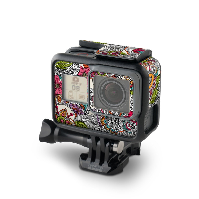 GoPro Hero6 Black Skin design of Pattern, Drawing, Visual arts, Art, Design, Doodle, Floral design, Motif, Illustration, Textile with gray, red, black, green, purple, blue colors