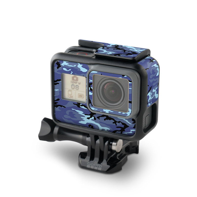 GoPro Hero6 Black Skin design of Military camouflage, Pattern, Blue, Aqua, Teal, Design, Camouflage, Textile, Uniform with blue, black, gray, purple colors