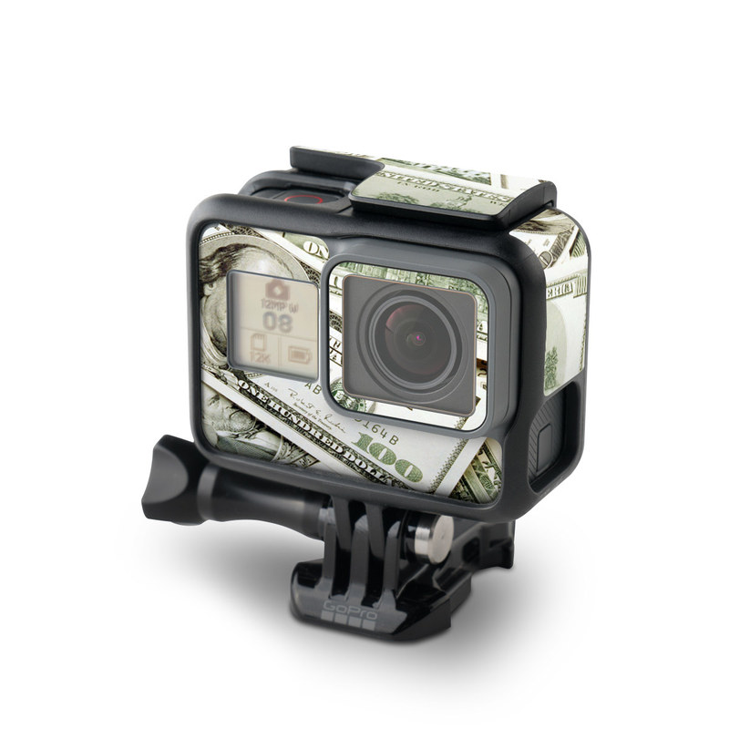 GoPro Hero7 Black Skin design of Money, Cash, Currency, Banknote, Dollar, Saving, Money handling, Paper, Stock photography, Paper product with green, white, black, gray colors