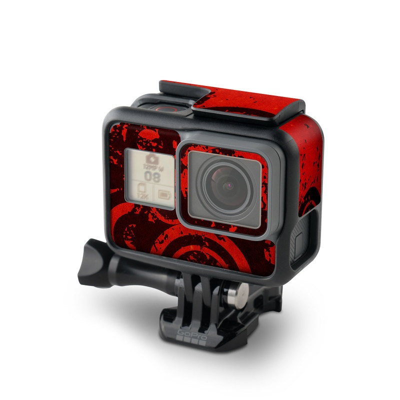 GoPro Hero7 Black Skin design of Red, Circle, Pattern, Design, Visual arts, Font, Graphics, Graphic design, Art, Still life photography with red, black colors