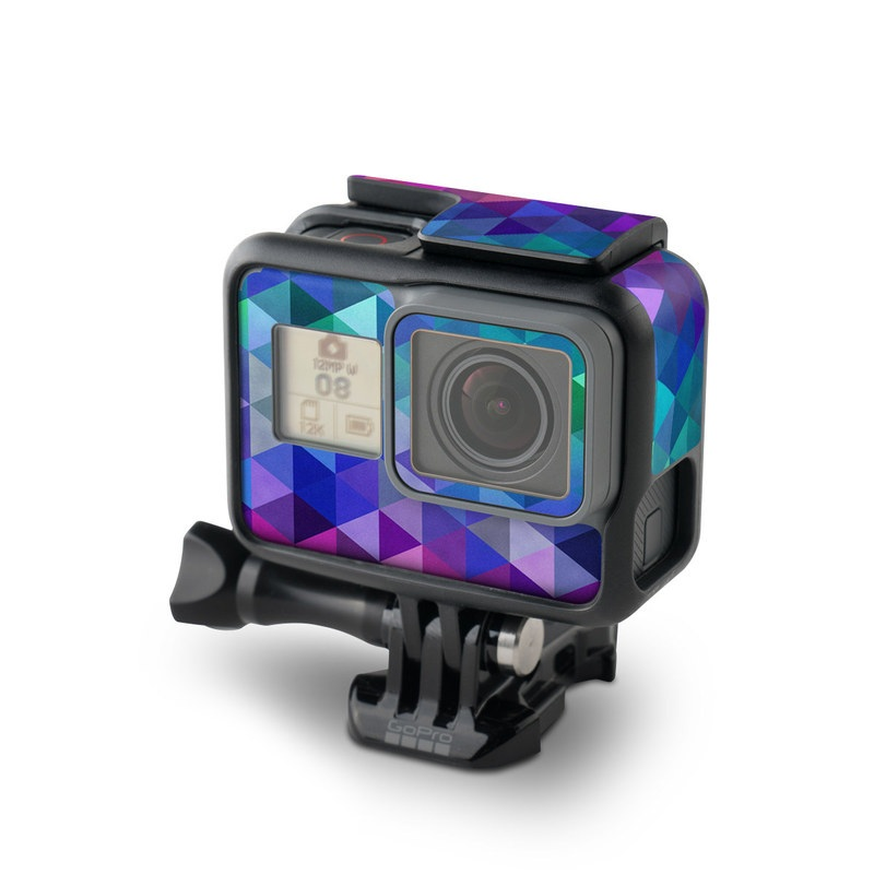 GoPro Hero7 Black Skin design of Purple, Violet, Pattern, Blue, Magenta, Triangle, Line, Design, Graphic design, Symmetry with blue, purple, green, red, pink colors