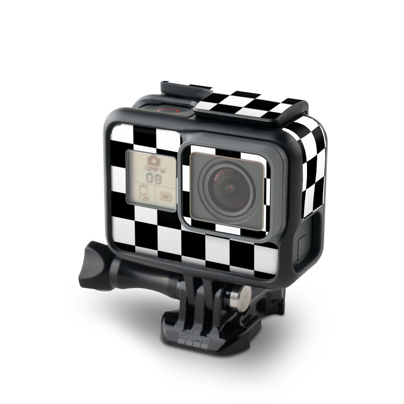 GoPro Hero7 Black Skin design of Black, Photograph, Games, Pattern, Indoor games and sports, Black-and-white, Line, Design, Recreation, Square with black, white colors