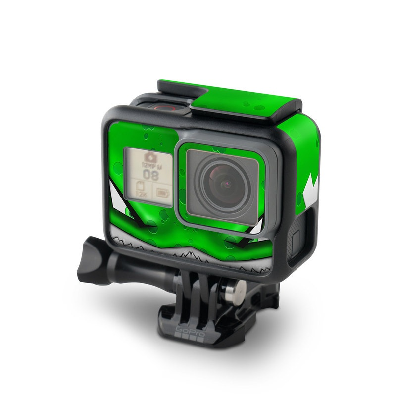 GoPro Hero7 Black Skin design of Green, Font, Animation, Logo, Graphics, Games with green, white colors