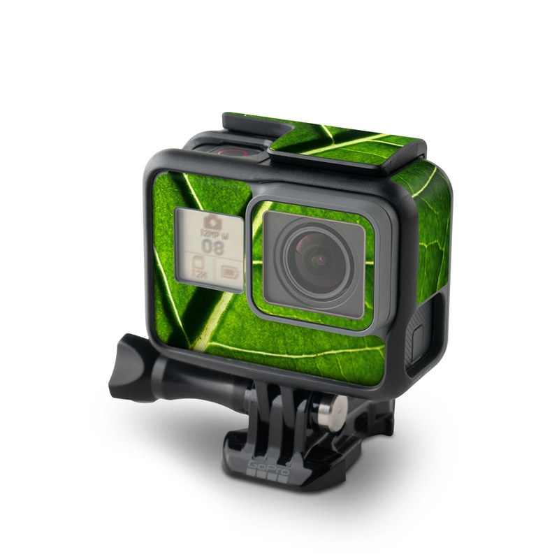 GoPro Hero7 Black Skin design of Leaf, Green, Nature, Plant, Close-up, Macro photography, Flower, Terrestrial plant, Botany, Organism with black, green colors