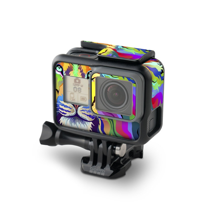 GoPro Hero7 Black Skin design of Bengal tiger, Felidae, Lion, Wildlife, Big cats, Tiger, Carnivore, Art, Illustration, Painting with orange, yellow, green, red, pink, blue, purple colors