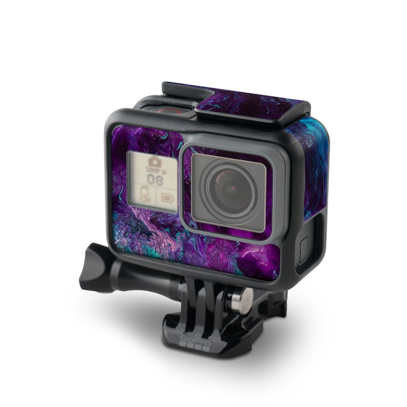 GoPro Hero7 Black Skin design of Blue, Purple, Violet, Water, Turquoise, Aqua, Pink, Magenta, Teal, Electric blue with blue, purple, black colors