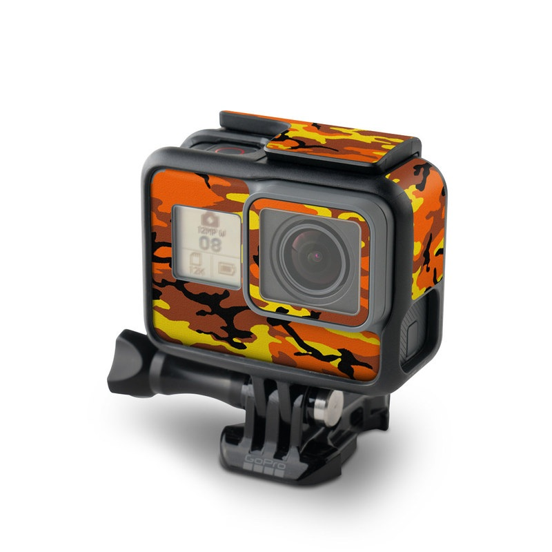 GoPro Hero7 Black Skin design of Military camouflage, Orange, Pattern, Camouflage, Yellow, Brown, Uniform, Design, Tree, Wildlife with red, green, black colors
