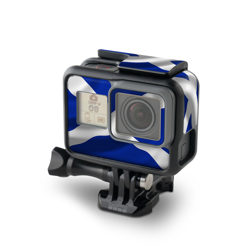 GoPro Hero7 Black Skin design of Flag, Blue, Cobalt blue, Electric blue, Gesture, Flag of the united states with blue, gray, black, white colors