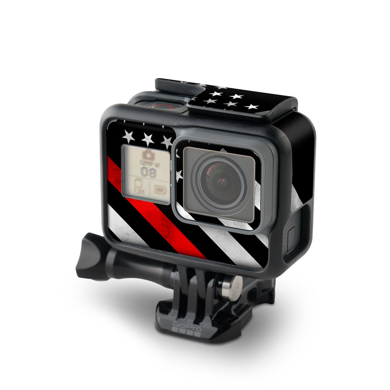 GoPro Hero7 Black Skin design of Flag of the united states, Flag, Line, Black-and-white, Pattern, Flag Day (USA), Veterans day, Independence day, Memorial day with black, white, gray, red colors