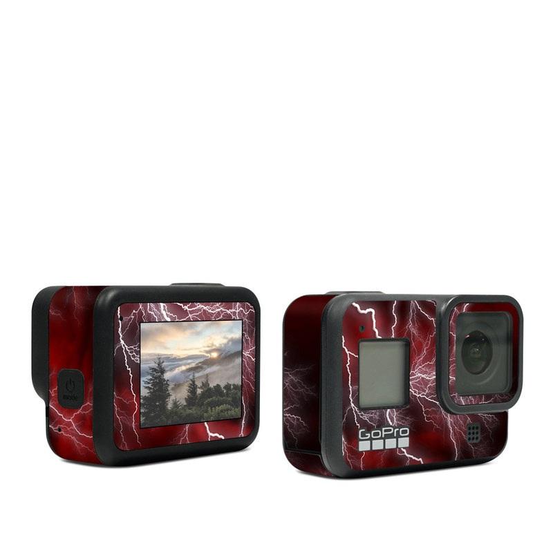 GoPro Hero8 Black Skin design of Thunder, Thunderstorm, Lightning, Red, Nature, Sky, Atmosphere, Geological phenomenon, Lighting, Atmospheric phenomenon with red, black, white colors