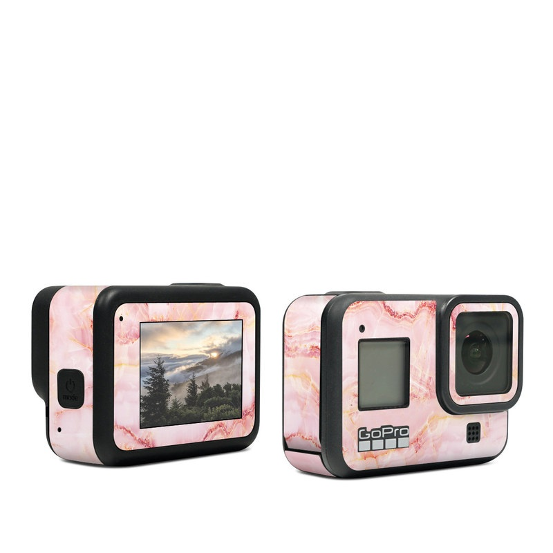 GoPro Hero8 Black Skin design of Pink, Peach with white, pink, red, yellow, orange colors