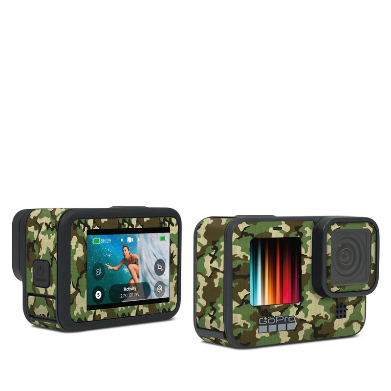 GoPro Hero9 Black Skin design of Military camouflage, Camouflage, Clothing, Pattern, Green, Uniform, Military uniform, Design, Sportswear, Plane with black, gray, green colors
