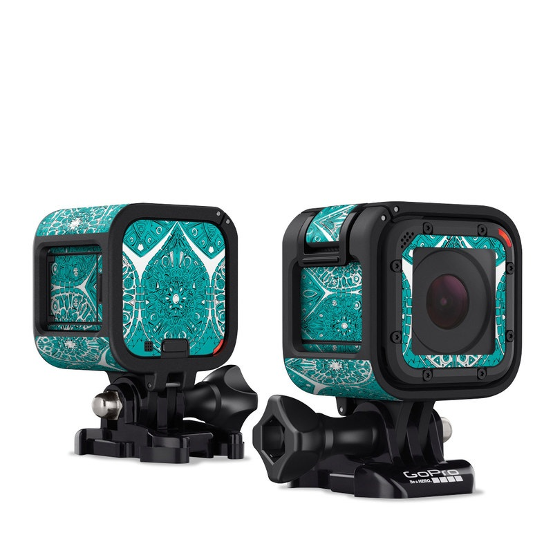 GoPro Hero4 Session Skin design of Pattern, Turquoise, Aqua, Teal, Design, Textile, Visual arts, Motif, Wrapping paper with blue, gray, white colors