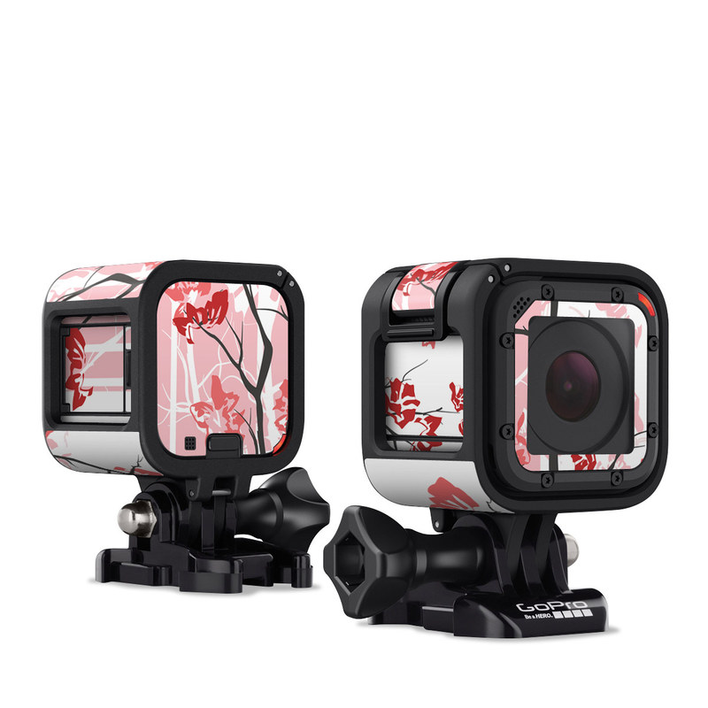 GoPro Hero4 Session Skin design of Branch, Red, Flower, Plant, Tree, Twig, Blossom, Botany, Pink, Spring with white, pink, gray, red, black colors