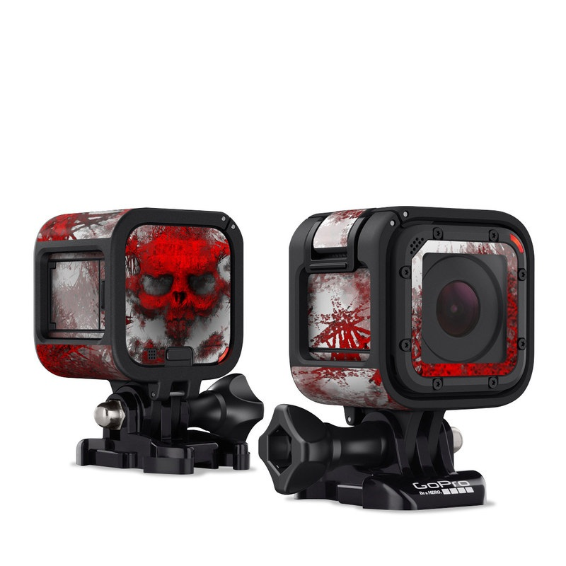 GoPro Hero4 Session Skin design of Red, Graphic design, Skull, Illustration, Bone, Graphics, Art, Fictional character with red, gray, black, white colors